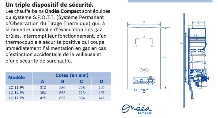 Caractéristiques Chauffe-Bain Ondéa compact