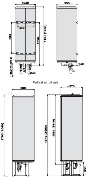 Dimension du chauffe-eau